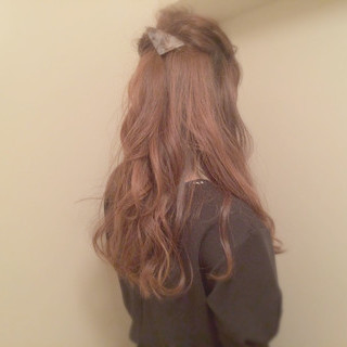 ゆるふわ くるりんぱ セルフヘアアレンジ ハーフアップ ヘアスタイルや髪型の写真・画像 ヘアスタイルや髪型の写真・画像