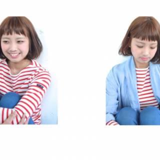 卵型 ガーリー ストリート ボブ ヘアスタイルや髪型の写真・画像