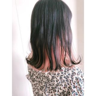 ピンク セミロング 外ハネ インナーカラー ヘアスタイルや髪型の写真・画像