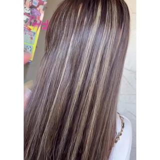 大人ハイライト エレガント 地毛ハイライト ロング ヘアスタイルや髪型の写真・画像