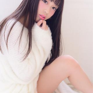 フェミニン ガーリー 黒髪 冬 ヘアスタイルや髪型の写真・画像