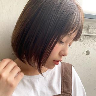 縮毛矯正 縮毛矯正ストカール ボブ ストレート ヘアスタイルや髪型の写真・画像