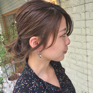 ミディアム ショート 簡単ヘアアレンジ 外国人風 ヘアスタイルや髪型の写真・画像