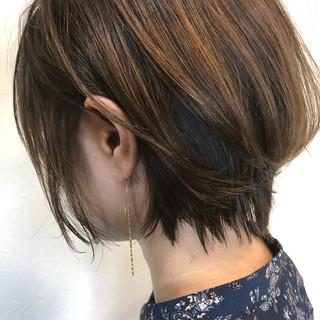 ナチュラル インナーカラー ミニボブ ボブ ヘアスタイルや髪型の写真・画像