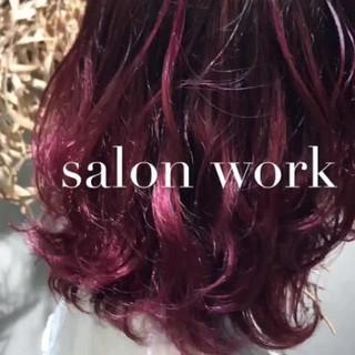 ブリーチ レッド グラデーションカラー ストリート ヘアスタイルや髪型の写真・画像