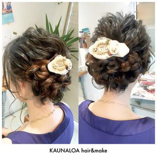 編み込み ロング ヘアアレンジ ヘアアクセ ヘアスタイルや髪型の写真・画像 ヘアスタイルや髪型の写真・画像