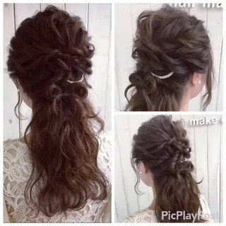 ハーフアップ ヘアアクセ ロング ヘアアレンジ ヘアスタイルや髪型の写真・画像