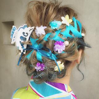ハーフアップ フェミニン ミディアム ショート ヘアスタイルや髪型の写真・画像