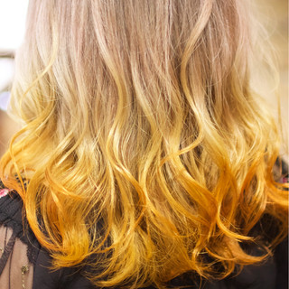 ダブルカラー グラデーションカラー 外国人風カラー ミディアム ヘアスタイルや髪型の写真・画像