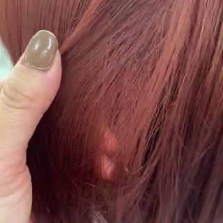 オレンジ セミロング ガーリー アプリコットオレンジ ヘアスタイルや髪型の写真・画像