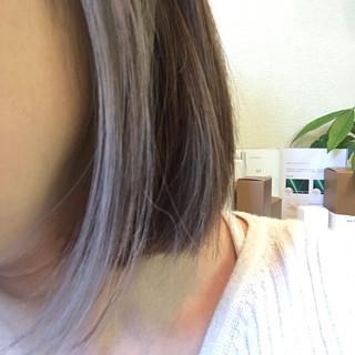 モード インナーカラー ブリーチ ラベンダーグレー ヘアスタイルや髪型の写真・画像