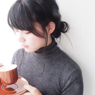 簡単ヘアアレンジ ショート お団子 黒髪 ヘアスタイルや髪型の写真・画像