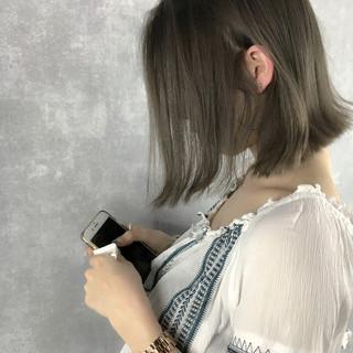 ボブ アッシュグレージュ ナチュラル ピンクベージュ ヘアスタイルや髪型の写真・画像