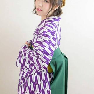ボブ ヘアアレンジ 袴 ハーフアップ ヘアスタイルや髪型の写真・画像