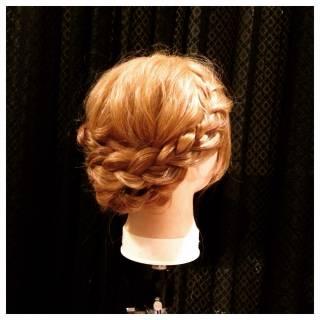 ガーリー ミディアム 編み込み 大人かわいい ヘアスタイルや髪型の写真・画像