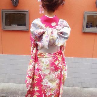 成人式 セミロング ロープ編み ヘアアレンジ ヘアスタイルや髪型の写真・画像