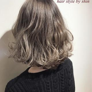パーマ ボブ ナチュラル 冬 ヘアスタイルや髪型の写真・画像