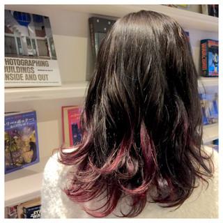 グラデーションカラー 暗髪 セミロング ストリート ヘアスタイルや髪型の写真・画像