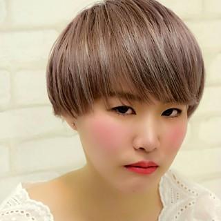 ピンク ショート 斜め前髪 ショートボブ ヘアスタイルや髪型の写真・画像 ヘアスタイルや髪型の写真・画像