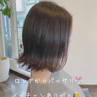 透明感カラー 外ハネ 透明感 ボブ ヘアスタイルや髪型の写真・画像