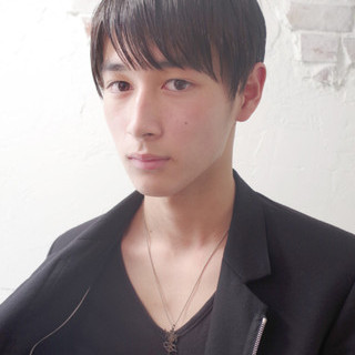 黒髪 メンズ モード ショート ヘアスタイルや髪型の写真・画像