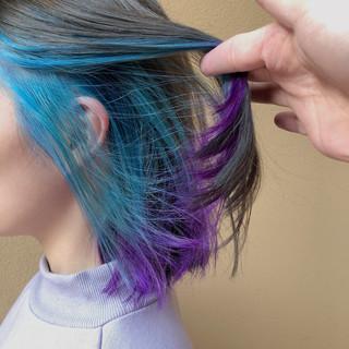 ターコイズブルー バイオレット パープル ボブ ヘアスタイルや髪型の写真・画像