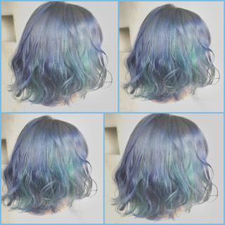 ゆるふわ 暗髪 ボブ ガーリー ヘアスタイルや髪型の写真・画像