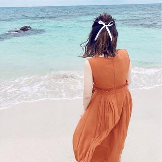 ミディアム 簡単ヘアアレンジ ハーフアップ デート ヘアスタイルや髪型の写真・画像
