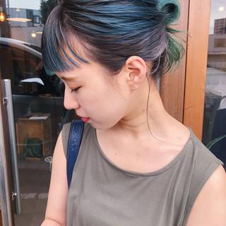 ストリート 簡単ヘアアレンジ セミロング ブルーグラデーション ヘアスタイルや髪型の写真・画像