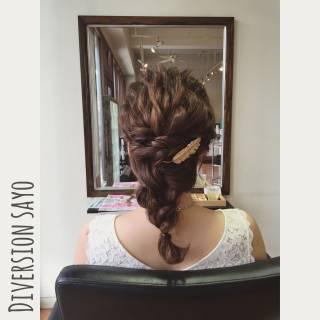 編み込み 波ウェーブ まとめ髪 ヘアアレンジ ヘアスタイルや髪型の写真・画像