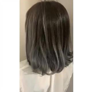 透明感カラー コントラストハイライト ナチュラル シルバーグレー ヘアスタイルや髪型の写真・画像