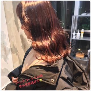フェミニン パープル オルチャン レッド ヘアスタイルや髪型の写真・画像