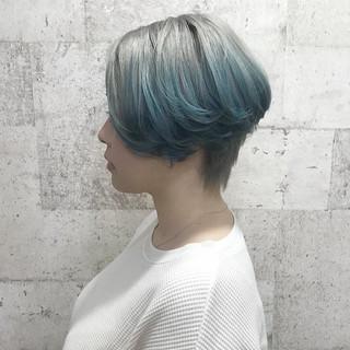 ハイトーン ダブルカラー ショート カラーバター ヘアスタイルや髪型の写真・画像