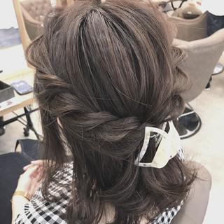 ボブ 女子会 透明感 ヘアアレンジ ヘアスタイルや髪型の写真・画像