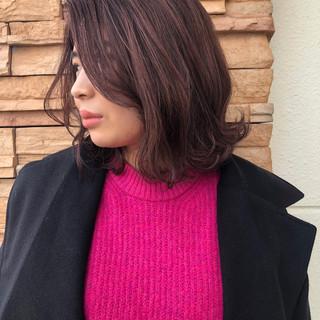 切りっぱなしボブ ボブ ピンクラベンダー ピンクパープル ヘアスタイルや髪型の写真・画像