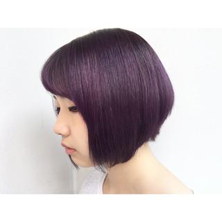 パープル ストリート ボルドー 艶髪 ヘアスタイルや髪型の写真・画像