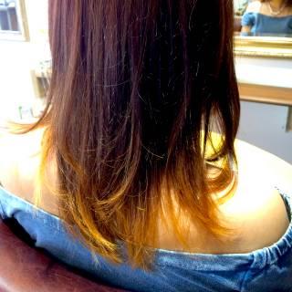ミディアム グラデーションカラー 夏 涼しげ ヘアスタイルや髪型の写真・画像