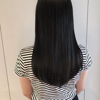 暗髪 黒髪 ナチュラル セミロング ヘアスタイルや髪型の写真・画像
