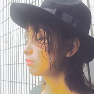 ミディアム ヘアアレンジ センターパート 外国人風 ヘアスタイルや髪型の写真・画像