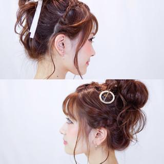 ヘアアレンジ お団子 夏 ゆるふわ ヘアスタイルや髪型の写真・画像