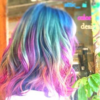 グラデーションカラー メッシュ ストリート ボブ ヘアスタイルや髪型の写真・画像