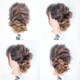 編み込み セミロング ルーズ 結婚式 ヘアスタイルや髪型の写真・画像
