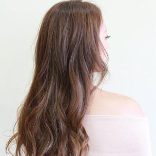 ガーリー 外国人風カラー ロング ウェーブ ヘアスタイルや髪型の写真・画像