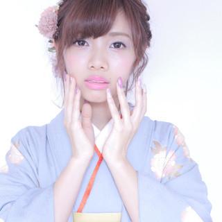 袴 ヘアアレンジ ボブ ガーリー ヘアスタイルや髪型の写真・画像