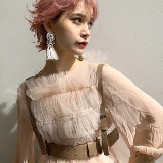 ショート ラベンダーピンク ピンクアッシュ ピンク ヘアスタイルや髪型の写真・画像
