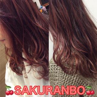 ピンク ガーリー チェリーピンク チェリー ヘアスタイルや髪型の写真・画像