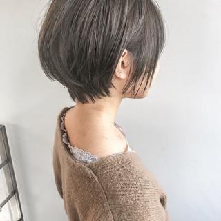大人女子 小顔 大人かわいい ショートボブ ヘアスタイルや髪型の写真・画像
