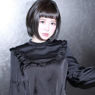 イルミナカラー モード 黒髪 ボブ ヘアスタイルや髪型の写真・画像