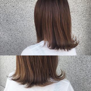 外国人風 外ハネ ブラウン ミディアム ヘアスタイルや髪型の写真・画像