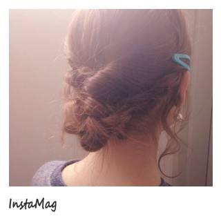 アップスタイル 簡単ヘアアレンジ ガーリー ヘアアレンジ ヘアスタイルや髪型の写真・画像